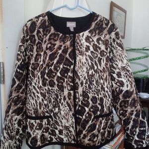 Chico's Women's Camo/Animal Print Quilted Jacket!